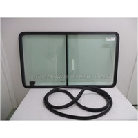MERCEDES SPRINTER - 2/1998 to 8/2006 - VAN - RIGHT SIDE FRONT SLIDING WINDOW ASSEMBLY - RUBBER FIT ROPE IN - GREEN