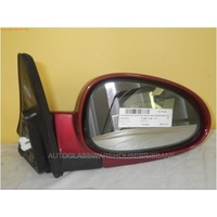 DAEWOO NUBIRA J100/J150 - 7/1997 TO 12/2003 - SEDAN/HATCH/WAGON - RIGHT SIDE MIRROR - COMPLETE - BURGUNDY - ELECTRIC (WHITE PLUG)
