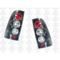 suitable for TOYOTA HILUX - 2/4DR UTE 4/2005>8/2011 - TAIL LIGHT PAIR - BLACK (SET)